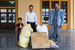 Mustafa, his son Ahmet and his relative Halil are going to Yerkoy District of Yozgat to work on farms. August 05, 2016.<br /> The Southern Kurtalan Train Express route, starting from Kurtalan, stops in Diyarbakir, Malatya, Sivas, Kayseri and Ankara from summer to fall. This train route is mostly used by seasonal workers that are living in east Turkey, but are working on the western part of the country from spring to fall. Photo by Aylin Kizil/NARphotos/ABACAPRESS.COM
