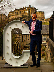Pictured: <br />Scottish Liberal Democrat Leader Willie Rennie  today announced his party's pupil premium plans.<br /><br />He was joined by Alex-Cole Hamilton (and his wife Gill and children Darcy (6), Finn (12) and Kit (9)) alongside giant LED letters at the Vennel Viewpoint of Edinburgh Castle.<br /><br />Ger Harley | EEm 26 March 2021