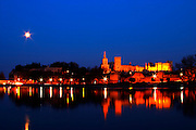 Pope's Palace in Avignon and the Rhone river at sunset with moon, Vaucluse, Rhone, Provence, France