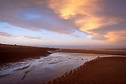 A winter sunset red sky over the long sandy beach of Sutton on Sea, Lincolnshire. United Kingdom. Sutton on Sea is on the coast of the North Sea, and is a popular holiday destination up the coast from Skegness.  (photo by Andrew Aitchison / In pictures via Getty Images)