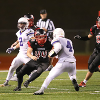 (Photograph by Bill Gerth for SVCN) Westmont #44 Daniel (DJ) Monroe moves in for the tackle vs Soledad in the  CCS Division 4 Championship Football Game at Independence High School, San Jose CA on 11/26/16.  (Westmont 13  Soledad 17)