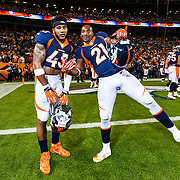 Denver Broncos strong safety T.J. Ward (43) and Denver Broncos cornerback Aqib Talib (21) pose for a photo during the NFL regular season game against the Green Bay Packers on Sunday, Nov. 1, 2015 in Denver. The Broncos won, 29-10. (Ric Tapia via AP)
