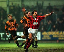 Falkirk's Albert Craig cele scoring a goal from the penalty spot, Falkirk v Berwick Rangers, 25/1/1997..Pic : Michael Schofield.
