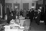 18/06/1963.06/18/1963.18 June 1963.Opening of Burroughs Business Efficiency Exhibition at the Royal Hibernian Hotel, Dublin. .The exhibition displayed various models of Burroughs management machines. The highlight was the F4000 Electronic Accounting System - The Sensitronic..Some of the  attendees listen to Mr M.J. Dargan, Assistant General Manager, Aer Lingus opening the exhibition