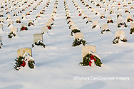 65095-02912 Wreaths on graves in winter Jefferson Barracks National Cemetery St. Louis,  MO