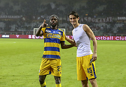 November 10, 2018 - Turin, Piedmont, Italy - Gervinho and Roberto Inglese (Parma Calcio 1913) celebrate the victory after the Serie A football match between Torino FC and Parma Calcio 1913 at Olympic Grande Torino Stadium on November 10, 2018 in Turin, Italy..Torino FC lost 1-2 over Parma. (Credit Image: © Massimiliano Ferraro/NurPhoto via ZUMA Press)