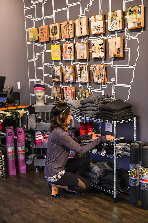 Items for sale at lululemon athletica Akron showroom.