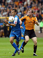 Fotball<br /> England 2004/2005<br /> Foto: SBI/Digitalsport<br /> NORWAY ONLY<br /> <br /> 25.09.2004<br /> <br /> Wolverhampton Wanderers v Cardiff City<br /> The League Championship<br /> <br /> Jody Craddock of Wolves clashes with Peter Thorne of Cardiff
