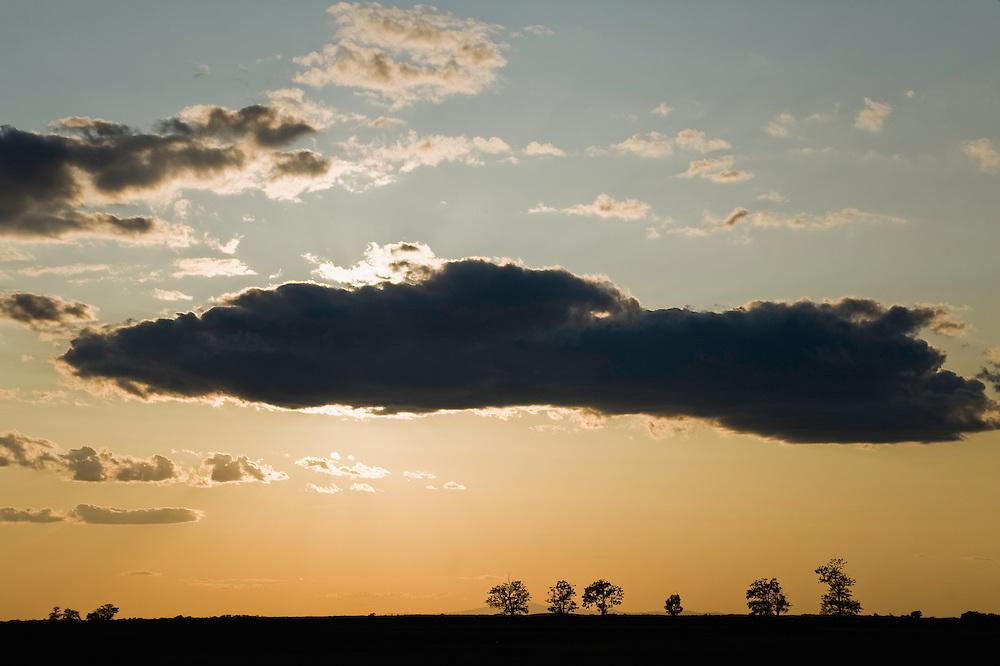 Hortobagy sunset landscape,  Hortobagy National Park, Hungary