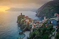 Aerial view of Vernazza cityscape, Italy.