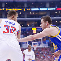 21 April 2014: Los Angeles Clippers forward Blake Griffin (32) posts up Golden State Warriors forward David Lee (10) during the Los Angeles Clippers 138-98 victory over the Golden State Warriors, during Game Two of the Western Conference Quarterfinals of the NBA Playoffs, at the Staples Center, Los Angeles, California, USA.