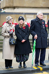 Lady Mason (left),   Former Cricket Umpire Dickie Bird (right) and Barnsleys queen of Fashion Rita Britain take part in the Remembrance Sunday service in Barnsley South Yorkshire <br /> <br />  08 October 2015<br />  Copyright Paul David Drabble<br />  www.pauldaviddrabble.co.uk