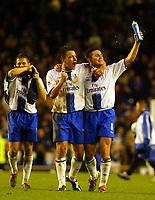 Photo: Scott Heavey.<br />Everton v Chelsea. FA Barclaycard Premiership. 01/11/2003.<br />Frank Lampard, (R) Joe Cole (L) and John Terry celebrate the Chelsea win