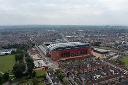 LIVERPOOL, ENGLAND - Saturday, September 4, 2021: An aerial view of Anfield stadium, home of Liverpool FC. (Pic by David Rawcliffe/Propaganda)