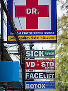 27 DECEMBER 2014 - PATONG, PHUKET, THAILAND:   A medical clinic catering to foreign tourists on Patong beach. Patong Beach is the largest beach on Phuket island. It's popular with tourists from Australia and Europe. In recent years it has become a leading destination for Russian tourists.  PHOTO BY JACK KURTZ