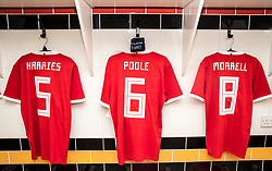 NEWPORT, WALES - Tuesday, October 16, 2018: The shirts of Cian Harries, Regan Poole and Joseff Morrell hang in the dressing room ahead of the UEFA Under-21 Championship Italy 2019 Qualifying Group B match between Wales and Switzerland at Rodney Parade. (Pic by Laura Malkin/Propaganda)