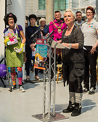 Actor Sue Devaney presents a tribute event in memory of Victoria Wood. Held at Manchester Victoria Station, the station was renamed Victoria Wood Station for the duration of the event.<br /> <br /> (c) John Baguley | Edinburgh Elite media