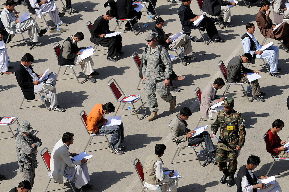 Candidates for ANA officer cadet school take academic tests given by American, ISAF NATO, and Afghan soldiers at the National Military Academy of Afghanistan (NMAA), modeled on the US Military Academy at West Point.  Out of approximately 3,000 applicants only 300 are selected each year during three days of academics and fitness tests.  The first class will graduate in 2009 with four year degrees majoring in civil engineering, computer sciences and law.  By 2012 the campus will be housed in a new $150 - 200 million facility named the Afghan Defense University (ADU).  The school is run by Afghan instructors with mentors from the 41 nation coalition International Security Assistance Force (ISAF) forces.