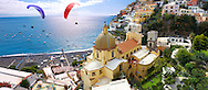 Paraglider over Positano town - Amalfi caost - Italy .<br /> <br /> Visit our ITALY HISTORIC PLACES PHOTO COLLECTION for more   photos of Italy to download or buy as prints https://funkystock.photoshelter.com/gallery-collection/2b-Pictures-Images-of-Italy-Photos-of-Italian-Historic-Landmark-Sites/C0000qxA2zGFjd_k