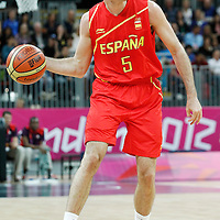 31 July 2012: Rudy Fernandez passes the ball during the first half of Spain vs Australia, during the men's basketball preliminary, at the Basketball Arena, in London, Great Britain.
