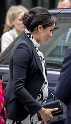 March 8, 2019 - London, UK - Duchess Meghan of Sussex visits the King's College London. She join's a panel discussion convened by The Queen's Commonwealth Trust to mark International Women's Day, at King's College London, bringing together a special panel of female thought-leaders and activists to discuss a range of issues affecting women today / 080319 (Credit Image: © face to face via ZUMA Press)