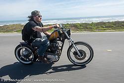 Austin Andrella riding his custom Yamaha XS650 on A1A south of Flagler Beach during Daytona Beach Bike Week  2015. FL, USA. Friday, March 13, 2015.  Photography ©2015 Michael Lichter.