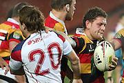 Tawera Kerr Barlow and Tasman's Shawn Begg during their Round 5 ITM cup Rugby match, Waikato v Tasman, at Waikato Stadium, Hamilton, New Zealand, Friday 29 July 2011. Photo: Dion Mellow/photosport.co.nz