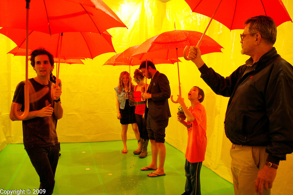 Shelley Harrison's Red Umbrella art installation at Fuller Project in Bloomington, Indiana.