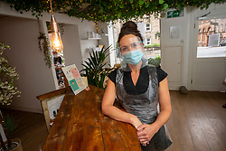 22JUL20<br /> Laura Taylor at The Secret Beauty Garden, Morrison St, Edinburgh. The salon opened today for the first time since lockdown.