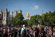 The six metre high inflatable TrumpBaby flying above Parliament Square for all to see, London, United Kingdom. 13th July 2018.