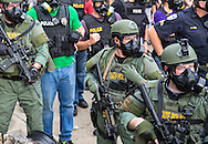 The Baton Rogue police move in on protest in Baton Rouge on Sunday, July 10, 2016.  6 days following the Alton Sterling shooting, the police areseted Aproximaetly 48 people had been were taken into custody by midnight Sunday,