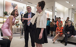 Designer Kate Spade Died At 55. Kate Spade was found dead in apparent suicide on June 5, 2018 - Amy Thompson (left) reacted as Kate Spade hands her the microphone while Mark Thompson looks on during an event at Hall's on Grand at Crown Center Plaza on Wednesday, March 9, 2016 in Kansas City, Mo, USA. Photo by Shane Keyser/Kansas City Star/TNS/ABACAPRESS.COM