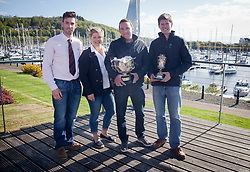 Lights winds dominated the Pelle P Kip Regatta  at Kip Marine weekend of 12/13th May 2018<br /> <br /> RWYC Commodore Ross Lang; Annika Lindqvist of Pelle P with Two of the Crew of Storm, Marty O'Leary and Mark Trap.<br /> <br /> Images: Marc Turner