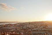 Overlooking the Alfama district and the Ponte 25 de Abril bridge in Lisbon, Portugal