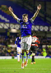 04.01.2014, Goodison Park, Liverpool, ENG, FA Cup, FC Everton vs Queens Park Rangers, 3. Runde, im Bild Everton's Seamus Coleman celebrates scoring the fourth goal against Queens Park Rangers // during the English FA Cup 3rd round match between Everton FC and Queens Park Rangers at the Goodison Park in Liverpool, Great Britain on 2014/01/04. EXPA Pictures © 2014, PhotoCredit: EXPA/ Propagandaphoto/ David Rawcliffe<br /> <br /> *****ATTENTION - OUT of ENG, GBR*****