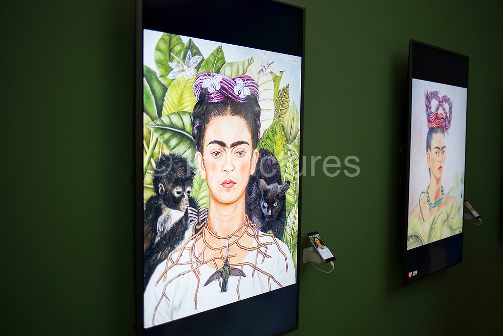 From Selfie to Self-Expression opening private view at the Saatchi Gallery on March 30th 2017 in London, England, United Kingdom. This is the world's first exhibition exploring the history of the selfie from the old masters to the present day, celebrating the truly creative potential of a form of expression often derided for its inanity. Frida Kahlo portrait.