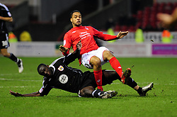 Nottingham Forest's David McGoldrick is fouled by Bristol City's Damion Stewart - Photo mandatory by-line: Matt Bunn/JMP - 25/01/2011 - SPORT - FOOTBALL - npower championship-Nottingham Forest v Bristol city-City Ground-Nottingham
