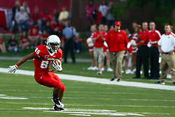 10 September 2011: Lechein Neblett works on making the corner turn during an NCAA football game between the Morehead State Eagles and the Illinois State Redbirds at Hancock Stadium in Normal Illinois.