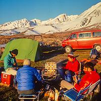 Ski Mountaneers camp below Mount Humphreys in the Owen Valley of California.