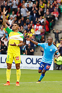 Patrice Evra (Olympique de Marseille), DIEGO CARLOS (FC Nantes) during the French championship L1 football match between Rennes v Lyon, on August 11, 2017 at Roazhon Park stadium in Rennes, France - Photo Stephane Allaman / ProSportsImages / DPPI