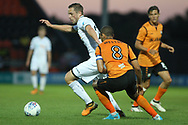 Gylfi Sigurdsson of Swansea city (L) in action with Curtis Weston of Barnet (R) marking. Pre-season friendly match, Barnet v Swansea city at the Hive in London on Wednesday 12th July 2017.<br /> pic by Steffan Bowen, Andrew Orchard sports photography.