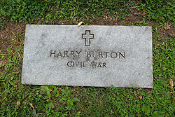 26 August 2017:   A part of the History of McLean County Illinois.<br /> <br /> Tombstones in Evergreen Memorial Cemetery.  Civic leaders, soldiers, and other prominent people are featured. Civil War Veterans Section.  Harry Burton.