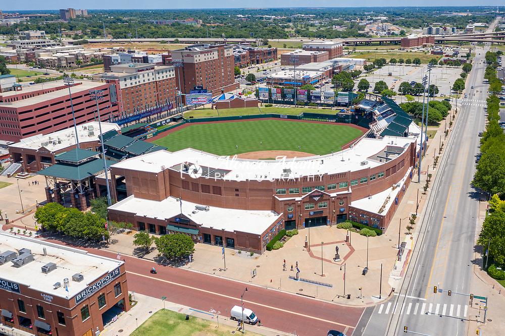 Chickasaw Bricktown Ballpark as seen from a drone. Photo copyright © 2020 Alonzo Adams.