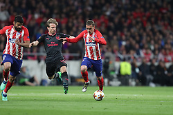 May 3, 2018 - Madrid, Spain - ANTOINE GRIEZMANN of Atletico de Madrid duels for the ball with NACHO MONREAL of Arsenal FC during the UEFA Europa League, semi final, 2nd leg football match between Atletico de Madrid and Arsenal FC on May 3, 2018 at Metropolitano stadium in Madrid, Spain (Credit Image: © Manuel Blondeau via ZUMA Wire)