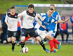 Falkirk's Blair Alston and Cowdenbeath's Aaron Lynas.<br /> half time : Cowdenbeath 0 v 0 Falkirk, Scottish Championship game today at Central Park, the home ground of Cowdenbeath Football Club.<br /> © Michael Schofield.
