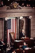House Speaker Newt Gingrich addresses the House of Representatives after being re-elected Speaker January 7, 1997 in Washington, DC.