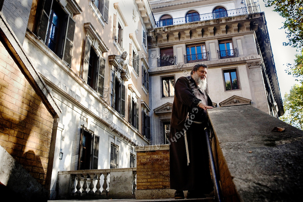 Father Carmine de Filippis, 55, from The Church of Immacolata Concezione (Church of Cappuccini), in Rome, Italy, is portrayed on the stairs leading to his church. He has been an exorcist since 1983.<br /> <br /> FOR MORE INFORMATION PLEASE WRITE TO ALEX@ALEXMASI.CO.UK<br /> <br /> **TEXT AND LENGHTY INTERVIEWS AVAILABLE**