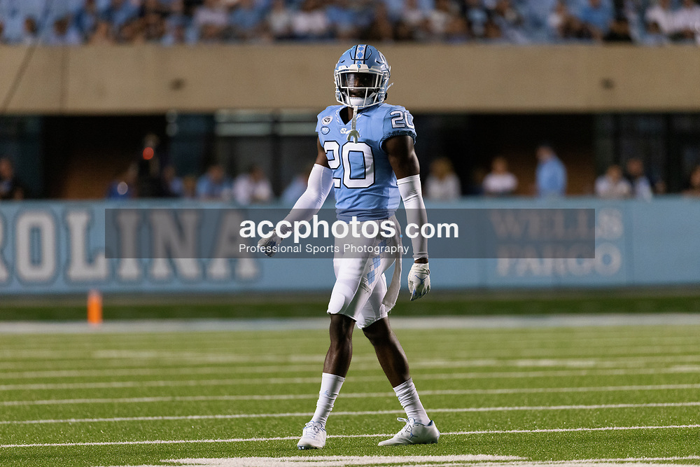 CHAPEL HILL, NC - SEPTEMBER 11: Tony Grimes #20 of the North Carolina Tar Heels plays during a game against the Georgia State Panthers on September 11, 2021 at Kenan Stadium in Chapel Hill, North Carolina. North Carolina won 59-17. (Photo by Peyton Williams/Getty Images) *** Local Caption *** Tony Grimes