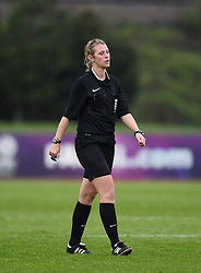 Referee Sarah Garratt calls time on Notts County LFC's impromptu team meeting - Photo mandatory by-line: Paul Knight/JMP - Mobile: 07966 386802 - 25/04/2015 - SPORT - Football - Bristol - Stoke Gifford Stadium - Bristol Academy Women v Notts County Ladies FC - FA Women's Super League