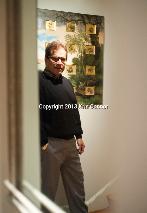 """Mario Castillo of The Aegis Group poses for a portrait in front of  his """"View From Ferntree Walk With Mating Species"""" painting at his home in northwest Washington D.C. on January 11, 2013. Photo by Kris Connor"""